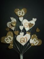 Hearts 60th birthday cake topper decoration in gold and white - free postage